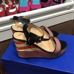 Black and Red wedges Size 7